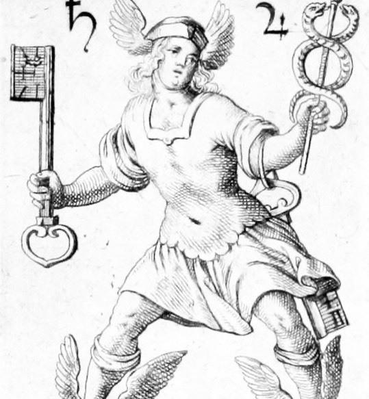 Mercurio con el caduceo y las llaves. El cuarto camino, es el depositario de las llaves del cielo.
